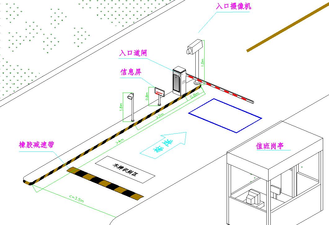 2.2,车牌识别系统安装图示   每个出入口架设一个高度为2.0-2.